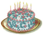 This free vintage illustration featuring a birthday cake with lovely blue lace icing