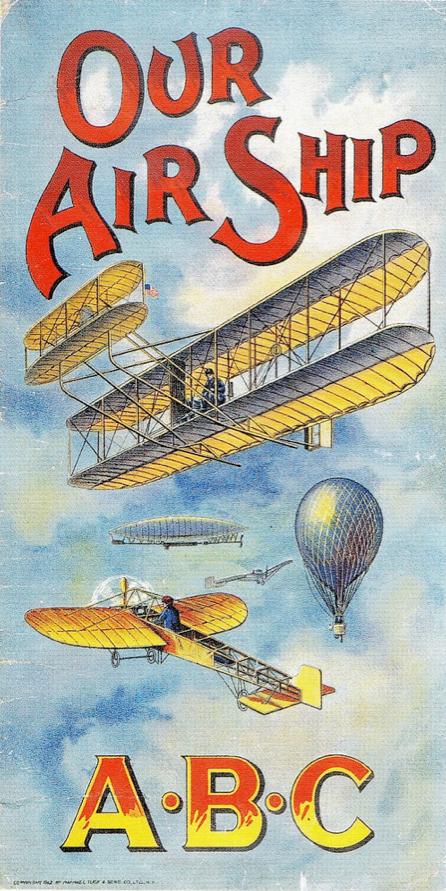 Free public domain children's book illustrations. ABCs in Flight!