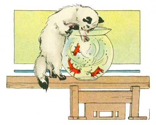 Public domain children's book artwork.  Kitten with a fish bowl