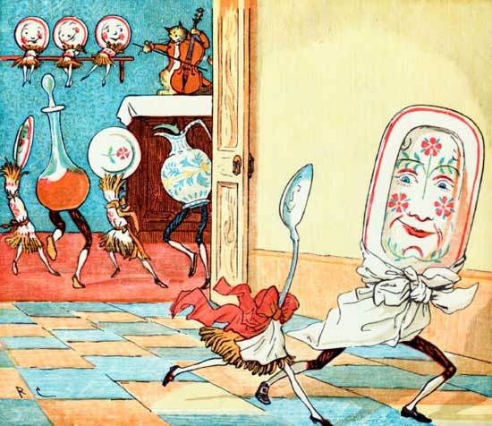 A classic vintage public domain illustration of the dish that ran away with the spoon.