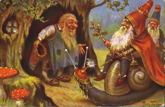Two vintage holiday gnomes. Public domain print