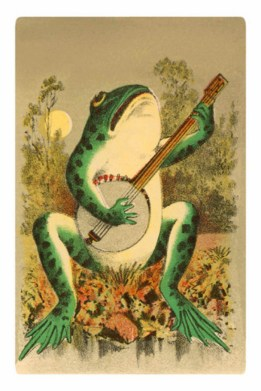 Free vintage image of a frog playing the banjo