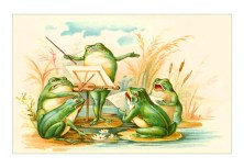 A classic and colorful vintage illustration of a frog symphony