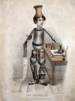 bizarre vintage robot apothecary image