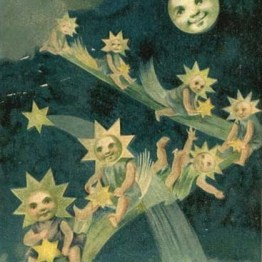 vintage moon with star children