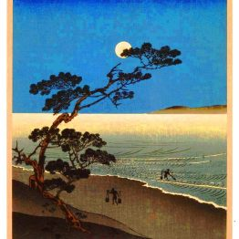 Vintage asian tree and moon