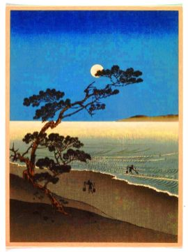 free vintage illustration moon asian art