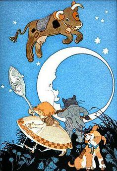 free vintage illustration moon cow