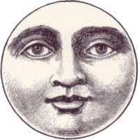 free vintage illustration moon face