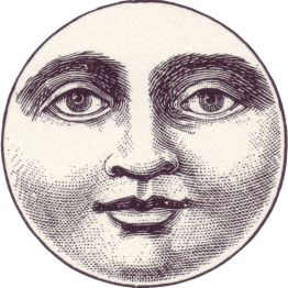 free vintage illustration moon face