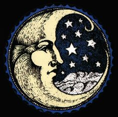 free vintage illustration moon with stars