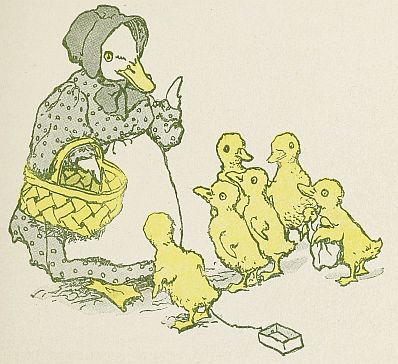 Free Public Domain vintage childrens illustration of a mother duck and her yellow ducklings