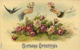 A public domain antique birthday greeting card with flowers, birds and hands