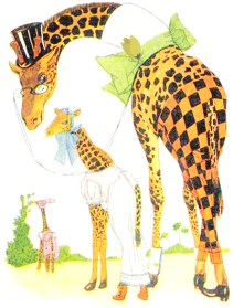 public domain vintage antique childrens book illustration of two giraffes wearing clothes
