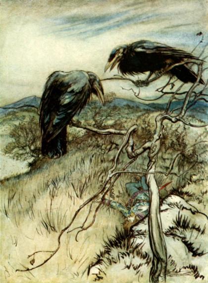 public domain vintage childrens book illustration arthur rackham ravens british ballad
