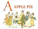 Free public domain vintage children's book illustration from Apple Pie by Kate Greenaway. Letter A. Antique Alphabet book.