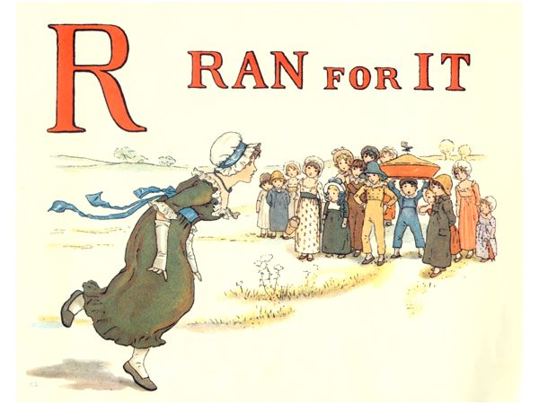 Free public domain vintage children's book illustration from Apple Pie by Kate Greenaway. Letter r. Antique Alphabet book.