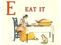Free public domain vintage children's book illustration from Apple Pie by Kate Greenaway. Letter e. Antique Alphabet book.