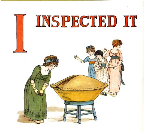 Free public domain vintage children's book illustration from Apple Pie by Kate Greenaway. Letter I. Antique Alphabet book.