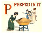 Free public domain vintage children's book illustration from Apple Pie by Kate Greenaway. Letter p. Antique Alphabet book.