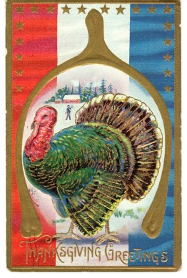 A public domain antique thanksgiving card illustration.