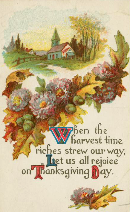 A free vintage thanksgiving greeting illustration in the public domain