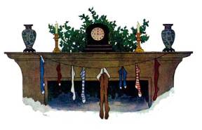 A vintage illustration of socks hung on chimney from Twas the Night Before Christmas