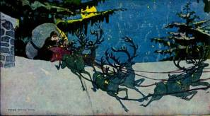 A public domain vintage illustration of Santa and Reindeer from Twas the Night Before Christmas