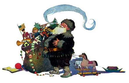 A public domain vintage illustration of Santa with Toy Sack Twas the night Before Christmas
