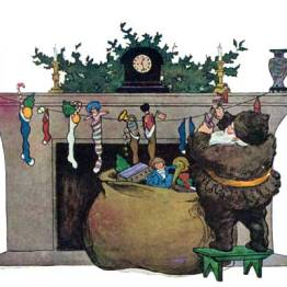 A public domain vintage illustration of Santa by the Chimey from Twas the Night Before Christmas