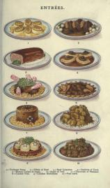A free public domain vintage illustration of meat food dishes