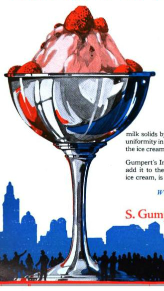 A free vintage advertisement illustration of sophisticated ice cream sundae