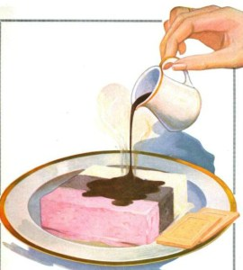 A free vintage illustration of neopolitan ice cream and coffee from an antique advertisement