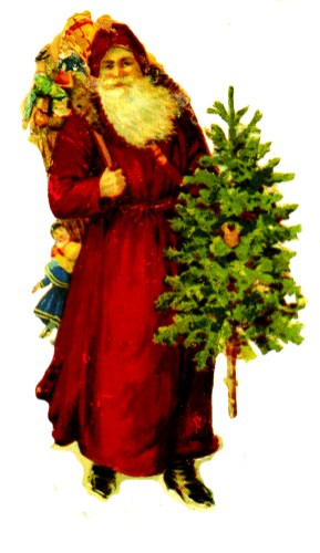 free victorian vintage santa clipart with tree