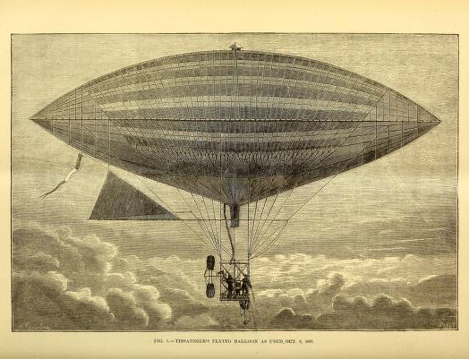 Free scientific illustration of antique hot air balloon from 1883