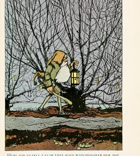 A free vintage illustration of Dwarf from 1913 snow white book