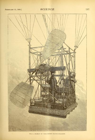 Free vintage scientific illustration of inside hot air balloon