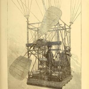 Free vintage scientific illustration of inside hot air balloon