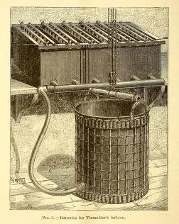 A free vintage scientific illustration of antique batteries