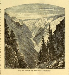 A vintage scientific illustration of Yellowstone in 1883