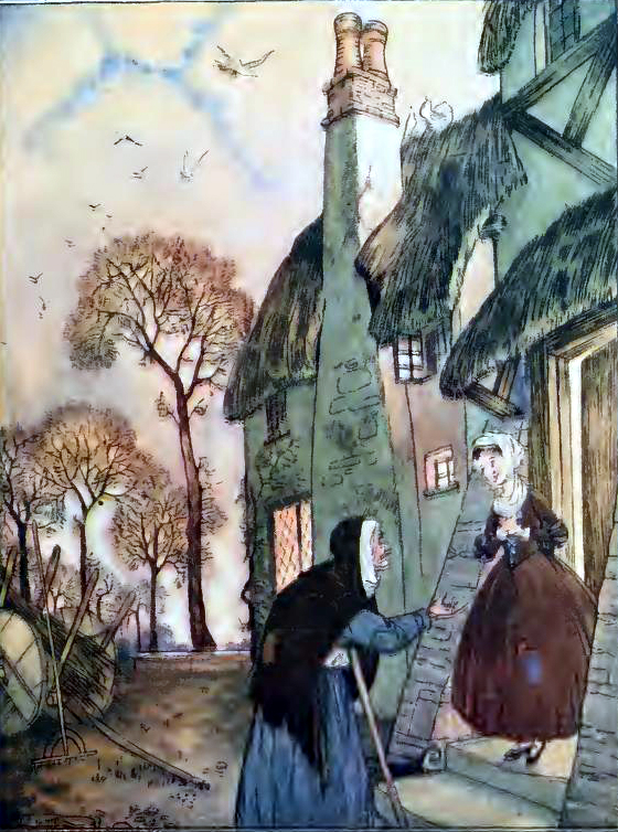 This is a free vintage children's book illustration of an old woman in town from an 1918 public domain book