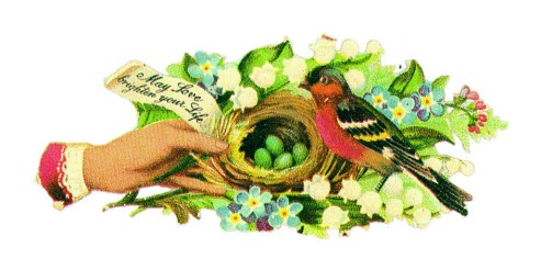 This copyright-free vintage illustration features a bird, birds nest, lush leaves, and charming green eggs