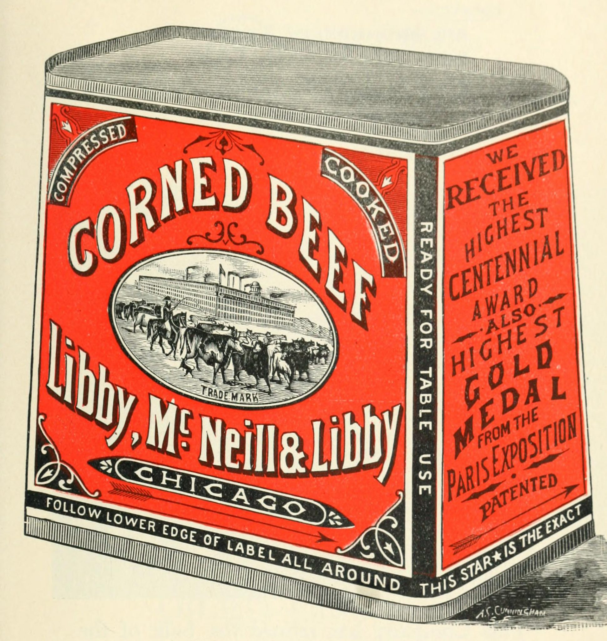 This is a free vintage color illustration of a can of corned beef