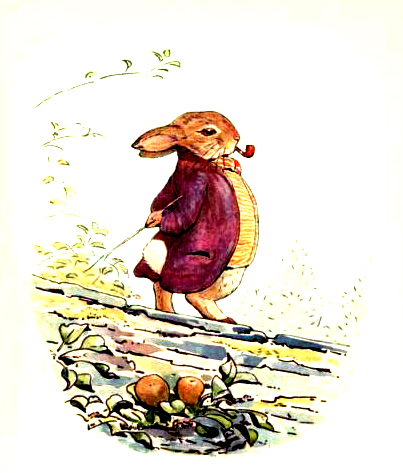 This is a free antique easter illustration of Benjamin Bunny by Beatrix Potter