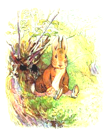This is a free vintage Easter illustration of Beatrix Potter's classic Benjamin Bunny