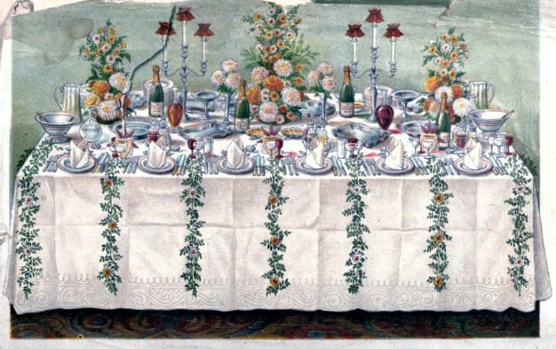 vintage illustration of antique table setting