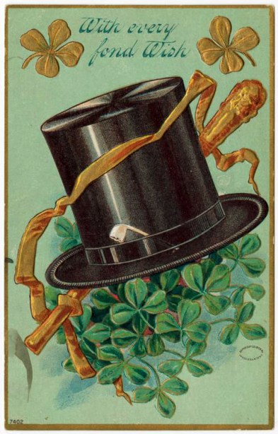 Vintage st. patricks day postcard with top hot