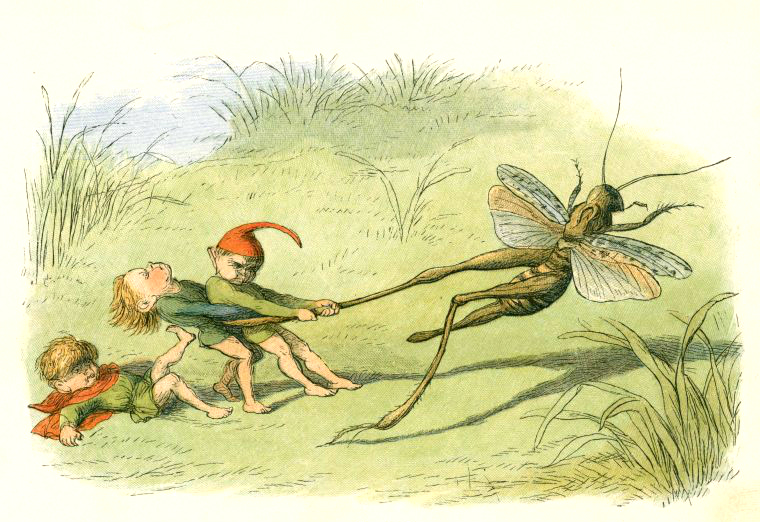 Three elves battling a giant grasshopper in Richard Doyle's In Fairyland.