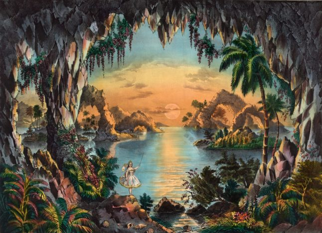 Whimsical Vintage Illustration Of A Fairy Grotto Free