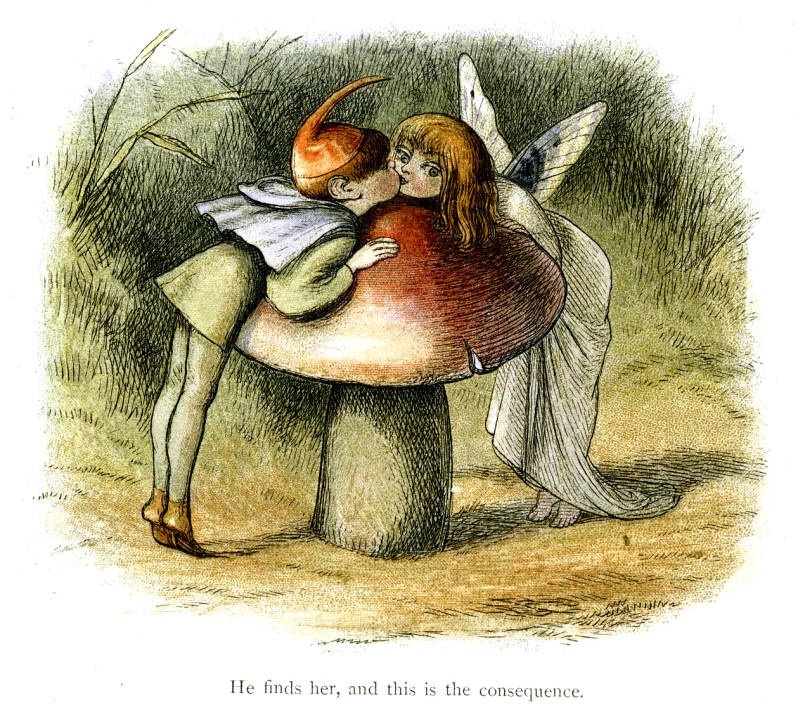 A vintage elf and fairy kissing near a mushroom in Fairyland.